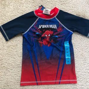 Toddler Boys Spider-Man Swim Shirt Rash Guard